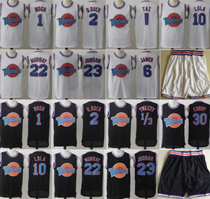 calções de basquete jersey preto venda por atacado-Space Jam Jersey Filme Tune Squad Pato Looney Daffy Bill Murray Lola Pernalonga TAZ Tweety Michael James Curry Calções De Basquete Preto Branco