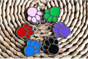 Wholesale enamel cat charms resale online - charms pendants Enamel Cat Dog Paw Prints Charms Fashion Charms Pendants Fit Bracelet Jewelry