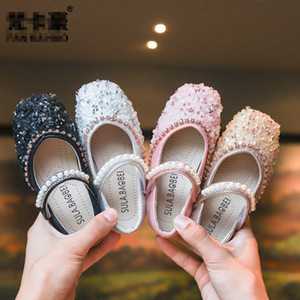 Wholesale Autumn new crystal kids designer shoes girls shoes princess pearl kids shoes fashion children shoe girls footwear A6886