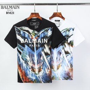 Top Quality Fashion Designer C5'Balmain T-shirt #023 Paris Off Luxury Letter Summer Short sleeve Mens White Tops Women Unisex Hip Hop Tees