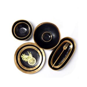 Handmade Contemporary Ripple Design Gold Rimmed Ceramic Dinnerware Creative Dinner Plates Serving Platter Salad Bowls Black White