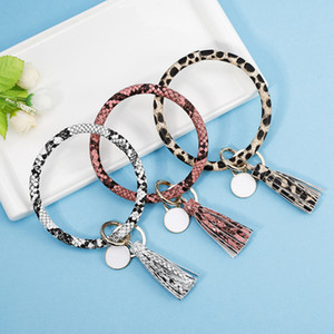 Wholesale Tassel Charms Bangles Key Buckle PU Leather Wrap Wristbands Keys Chain Multi Colors Bracelet Ring RRA2118