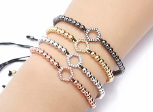 gold silver micro pave cz Cubic Zirconia rope adjusted Copper Beads Bracelet gj543 hexagon Charm Braided Bangles Women
