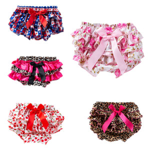 Wholesale satin bloomers short resale online - Baby bloomers Toddler cartoon printed satin bow pp pants infant shorts pant briefs bloomer underwear girls Panties kids boutique clothing