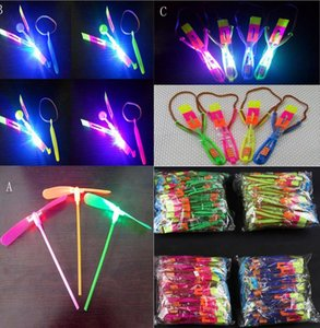 Wholesale LED Arrow Helicopter Flying Helicopter Umbrella parachute Kids Toys Space UFO LED Light Christmas Kids Gift Novelty Children Flying Toys