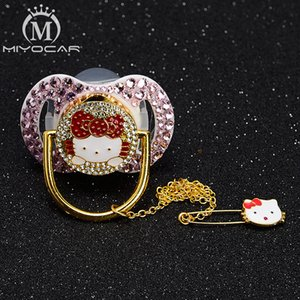 MIYOCAR pink bling stones noble pacifier dummy and pacifier clip holder set BPA free FDA grade high class safe to baby