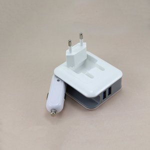 Wholesale 2in1 Compact Wall Charger Car Converter Dual USB Port V A Fast Charging Folding Home Travel Charger AC DC Power Adapter