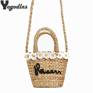 Wholesale Trendy Sweet Straw Bucket Bag Daisy Flower Mini Basket Bags Summer Woven Embroidery Letter Shoulder Crossbody Bags For Women