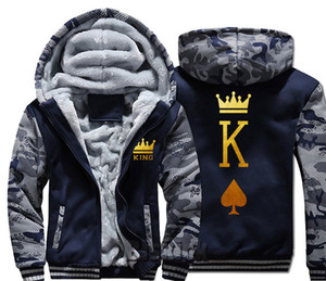 king queen couple letter print golden Men women Warm Thick Coat Jacket winter warm velvet Sweatshirt top HoodiesMX190828 on Sale