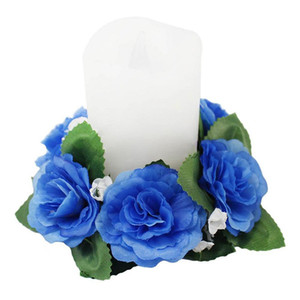 Wholesale Blue Dark Rose Red Artificial Flower Rose Rings Candle Valentine s Day Anniversary Party Decorating Supplies
