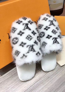 high12 women Mink slippers causal slippers Wool Household slippers tian blooms start print slide sandals unisex indoor beach flip flops