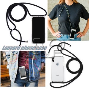 Wholesale New Solid color long Lanyard strap Transparent TPU Acrylic Bumper Shockproof Back Cover Shoulder Rope Cord Airbag Case for all cell phone