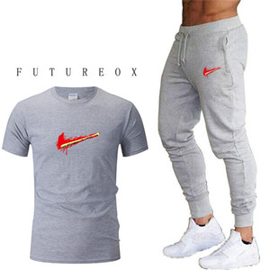 Wholesale New Men's Running Sets Quick-drying Breathable T-short+Loose Stretch Sweatpants Summer Jogging Fitness training Sports Suits