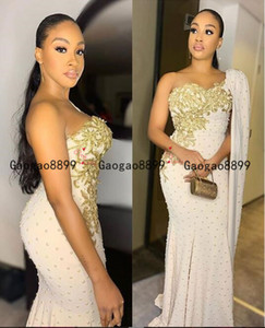 Wholesale 2020 Luxury pearls Arabic Dubai gold lace Mermaid Prom Dress one shoulder with long cape sexy split Formal Evening Dresses Custom made