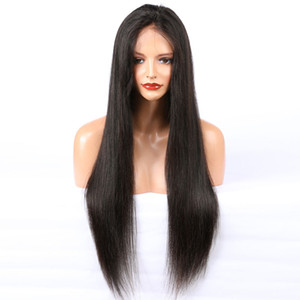 Wholesale Human Hair Lace Front Wig Silky Straight Pre Plucked Hairline Soft Brazilian Virgin Hair Full Lace Wig 150% Density With Baby Hair