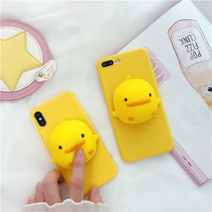 Wholesale 3D Cartoon Yellow Duck Bread Squishy Phone Case For iphone X XS MAX XR S SE s Plus plus D Animal Squeeze Stress Cover