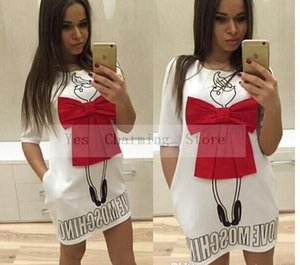 Wholesale 2019 Summer Cartoon Letter Character Print Red Bow Dress Casual O neck Short Sleeve Dresses Vestidos Fashion Loose Women Dress Plus Size XL