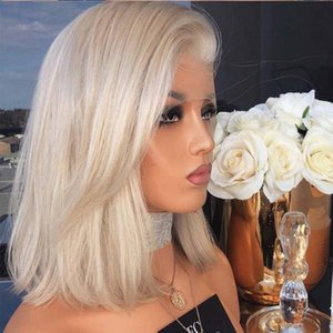 Fast Shipping Natural Hairline Blonde Color Short Bob Wigs Synthetic Lace Front Wig Straight Hair 12 Inch Lace Wigs For Women Heat Resistant