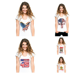 Wholesale new Trump Flag t shirts hot style print t shirts short sleeved t shirts summer women s shirts large women t shirt home clothing T2B5011