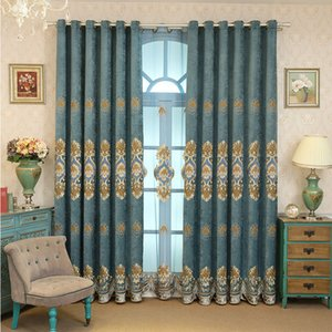Wholesale Factory Direct Chenille High Shading Taped Velvet Embroidery Shade Cloth Bedroom Living Room Study Curtains