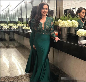 2019 Green Sheer Evening Dresses With Long Sleeve Pleats Taffeta Sexy Deep V-Neck Mermaid Lace Formal Prom Party Gowns Hot Selling New on Sale