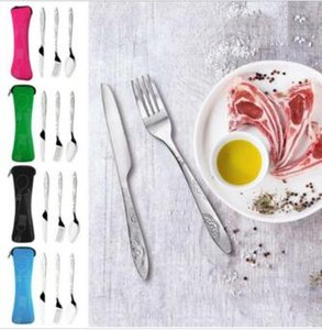 Wholesale Portable Tableware Stainless Steel Dinnerware Camping Fork Spoon Knife Bag Travel Dinnerware Set Luxury Cutlery Set Tableware Set TL144