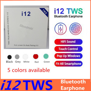 Wholesale i12 tws bluetooth wireless bluetooth headphones Earphones colorful touch control wireless headset JL Chip earbuds with charger box
