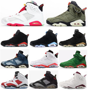 New 6 Hare Black Infrared Travis Scotts Carmine DMP UNC Basketball Shoes Men Women 6s Washed Denim Gatorade Oreo Maroon Sneakers With Box