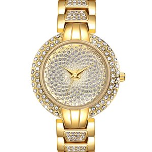 Wholesale Full Crystals Luxury Ladies Watch for Women Hands Stones Dial Alloy Round Case Bracelet Christmas Gift free drop shipping