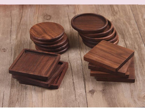 Wholesale Wooden Coasters Black Walnut Cup Mat Bowl Pad Coffee Tea Cup Mats Dinner Plates Kitchen Home Bar Tools dc800