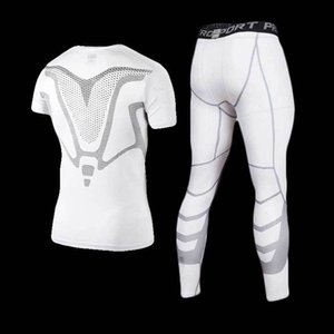 Wholesale Men Gym Compression Fitness Sets Tee Top + Capri Legging Workout Exercise Sport Yoga Beach Shirts Running Tights Tank Clothing Q190521