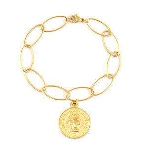 Wholesale Silve Gold Stainless Steel Coin Bracelets For Women Medallion Bracelet Ankle Bracelet bohemian Jewelry