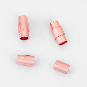 Wholesale 10pcs Rose Gold Round End Cap Connector Magnetic Clasp For mm Round Leather Cord Diy Bracelet Jewelry Findings Material