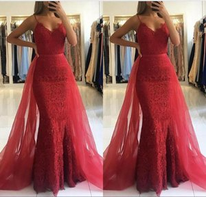 Gorgeous Charming Mermaid Spaghetti Straps Dark Red Lace Prom Dresses Floor Length Lace Beaded Removed Belt Formal Evening Party Dresses
