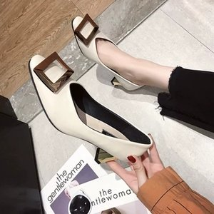 Wholesale 2019 spring fashion wild women s shoes metal buckle one pedal sexy work shallow mouth single shoes