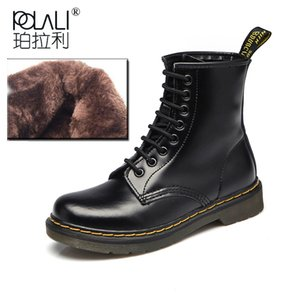 Wholesale Women Boots Shoes Woman Ankle Boots Punk Spring Autumn Cow Leather Shoe Lace Up White Black Plus Size zapatos mujer
