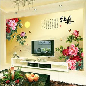 Wholesale painted flowers for walls chinese for sale - Group buy 3D Large mural silk wallpaper Chinese peony flowers painting wall decoration for TV sofa bedroom living room background wallpaper