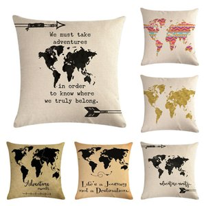 Wholesale 45 cm New Fashion Sofa Throw Pillowcase Cotton Linen Pillows Case Cover Pillow Letter world map Printed Bedroom Home Decorative