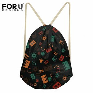 Wholesale FORUDESIGNS Daily School Drawstring Bag Music Printed Women String Backpack Girls Boys Fashion Softpack Shoes Storage Bags Kids
