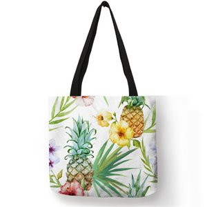 2019 Hot Fashion Tropical Plant Tote Bags Women Fashion Handbags Pineapple Floral Cactus Print Shopping Traveling School Bags on Sale
