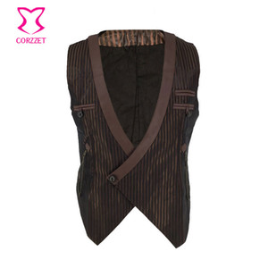 Brown Striped Satin Deep V Neck Sleeveless Vintage Steampunk Costume Men Cosplay Victorian Coat Medieval Jacket Gothic Vest Mens on Sale