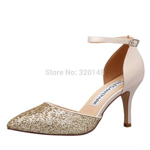Wholesale Women high heel pointy pumps prom party Bridal wedding shoes Glitter Satin ankle strap Bride Ladies Shoes HC1811 Champagne