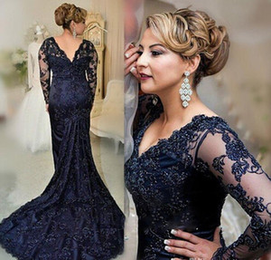 Wholesale mother bride dresses navy petite resale online - Long Sleeves Navy Blue Evening Dress Mermaid Applique Lace Women Lady Wear Prom Party Dress Formal Event Gown Mother Of The Bride Dress