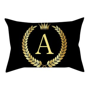 Polyester Peach Square Pillow Cover Black and Gold Letter Pillowcase Sofa Cushion Cover Sofa Home Car Office Decor B1