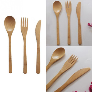3pcs set Outdoor Tableware Picnic Traveling Hiking Camping Cutlery Utensils Portable Dinnerware Bamboo Knife Fork Spoon Set
