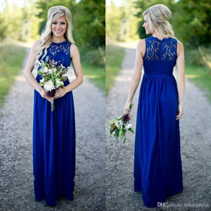 Wholesale 2020 Sexy Long Dark Blue Chiffon Bridesmaid Dresses Lace Beach Bridesmaids Dress Plus Size Wedding Guest Gowns Country Maid of Honor Dress