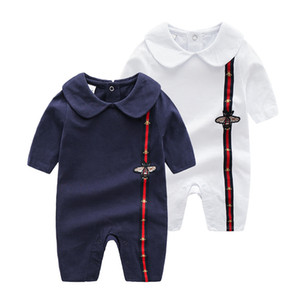 Wholesale white unisex baby clothes resale online - INS Baby doll collar Clothes stripe Romper Spring Autumn New Romper Cotton Newborn Baby Girls Boy Kids Designer cartoon Bee Infant Jumpsuits