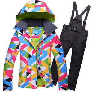 Wholesale New Style Women Ski Jacket+Pants Super Warm Windproof Waterproof Outdoor Sport Wear Skiing Snowboard Riding Camping Ski Suit
