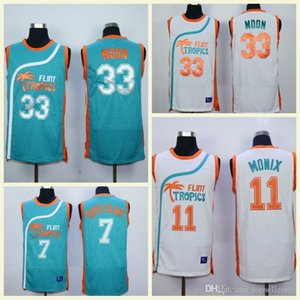 High Quality Semi Pro Movie Flint Tropics 33 Jackie Moon Jersey 11 ED Monix College 7 Coffee Black Basketball Jerseys Stitched Green White on Sale