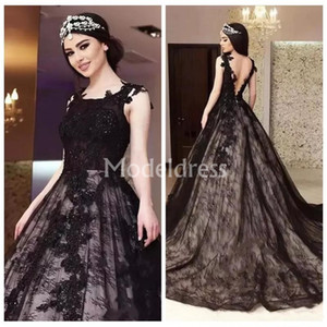 Wholesale Black Gothic Wedding Dresses Lace Sleeveless Ball Gown Backless Stylish Train Bridal Gowns Elegant Vestidoe De Noiva Unique Design Charming
